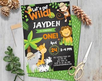 SELF-EDITING Safari Birthday Invitation-Safari Party invite-Safari Invitation-Zoo Animal-Jungle-Chalkboard-First Birthday-Any Age-A147-C