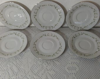Set of Six (6) Saucers - Elegance by Sheffield Fine China - Pattern No. 502 with Platinum Trim - White Flowers Green Leaves Red Pink Accent