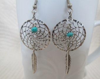 Vintage Silver Jewelry, Native Jewelry, Native American, Southwest Jewelry, Dreamcatcher Earrings, Vintage Earrings