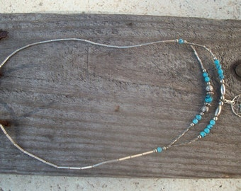 Liquid Silver & Turquoise Necklace 18""