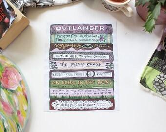 Outlandish Book Stack - ART PRINT