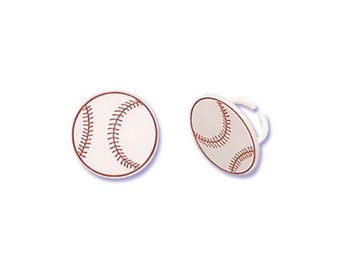 Baseball Cake Cupcake Topper Rings  - 12 count - Baking and Candy Making Party Decorations