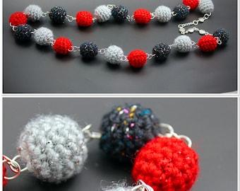 Red & Grey Handmade Crochet Beaded Necklace