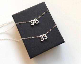 Silver Number Necklace, Silver Initial Necklace,Basketball Necklace, Football Mom Necklace, Football Jersey, Lacrosse, Baseball, Softball