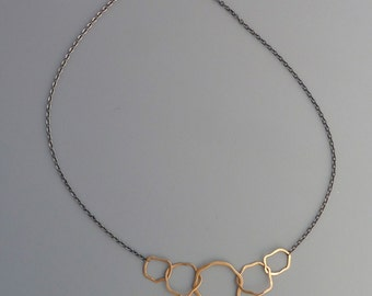 oxidized sterling silver necklace with organic gold filled links, Rachel Wilder Handmade Jewelry