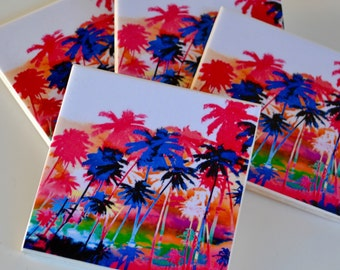 Ceramic Tile Coasters - Chrome Palm Trees