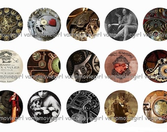 INSTANT DOWNLOAD...Steampunk.... 1 Inch Circle Image Collage for Bottle Caps...Buy 3 get 1
