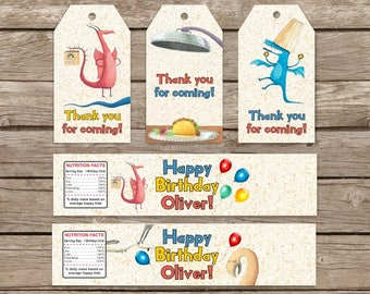 Dragons Love Tacos Birthday Tags, Dragons Love Tacos Water Bottle labels Birthday Party, Dragons Love Tacos Party Favor, Gift Tags