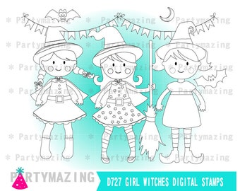 Cute Witches ClipArt Set, Witch Halloween Digital Stamp Set, Line Clip Art Graphic Set, Instant Download HOHW1-D727