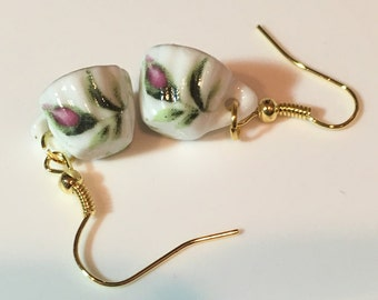 Rosebud Mini Porcelain Tea Cup (teacup) Earrings