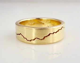 Gold Modern Mountain Ring, 7mm band, handmade with recycled 14k or 18k yellow Gold, mens wedding band, custom wedding jewelry