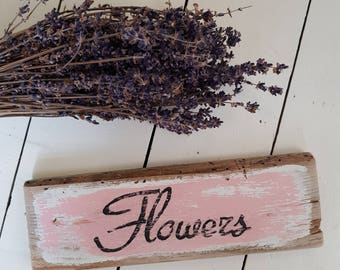 Hand painted wooden  flowers sign