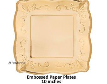 gold paper plates embossed elegant tableware fancy dinnerware pretty bridal shower decor  sc 1 st  Etsy & gold dessert plates fancy embossed paper plates wedding