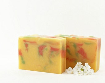 Tropical Citrus Swirl Soap | Essential Oil Soap, Cold Process Soap, Citrus Soap, Vegan, Gift Idea for Women, Gift for Men, Gift for Teens