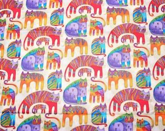 Laurel Burch Rare OOP Fantastic Felines Fabric Cats on Cream - By The HALF YARD