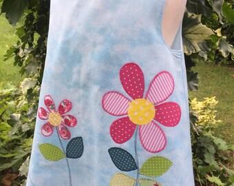 Handmade Sun Dress Toddler Blue Sky with Appliqué Flower Leaves & Ladybird Girl's Pinafore Tunic Sundress age 12-18 months