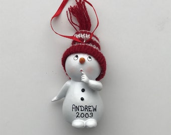 Snowmen Personalized Christmas Ornaments / Kids Ornament / Snowman Hand Near Mouth