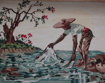 Asian Themed Paint By Number, Fisherman, Orient, Ocean, Sea, Fishing Net, oriental, Floral