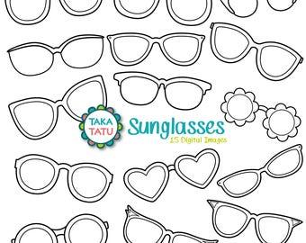 Sunglasses Digital Stamp Pack - Black and White Clip art / Eyeglasses Clip art / Reading Glasses Clip art / Sunglasses / Fashion Clipart