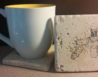 Set of 4 Schnauzer Travertine Stone Coasters