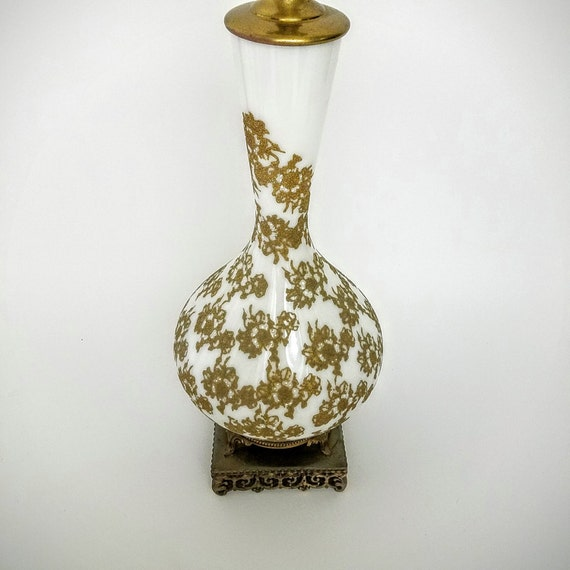 Vintage Brass Glass Table Lamp Light Fixture, White China With Gold Embossed Details