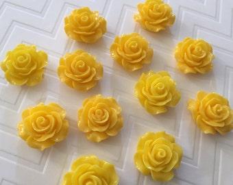Flower Magnet Set of 12 - Yellow Roses - stocking stuffer, dorm decor, hostess gift, weddings, bridal shower, baby shower, gift