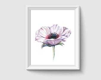 Poppy Flower Watercolor Painting Poster Art Print P319