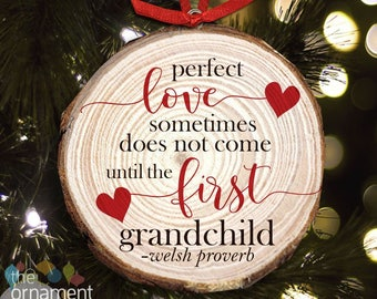 Grandparent Christmas ornament - perfect first time Christmas pregnancy announcement cut pine wood ornament MWO-006