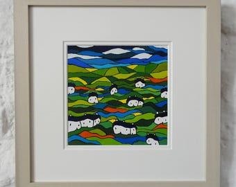 "Art Original Landscape Painting 12""x12"" Expressionist Painting Acrylic Original Impressionism Landscape Expressionism Naive Folk Art Artwork"