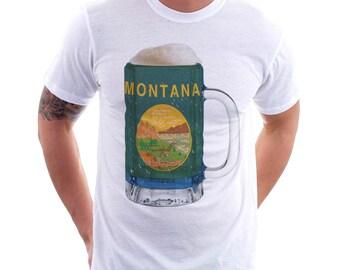 Montana State Flag Beer Mug Tee, Home State Tee, Unisex, State Pride, State Flag, Beer Tee, Beer T-Shirt, Beer Thinkers, Beer Lovers Tee