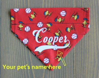 Personalized Pet Bandana, Customize, Add a Name, Baseball, Over the Collar, Collar NOT include, Dog Clothing, Softball, Sports