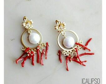 Pearl and coral earrings, gold earrings, hoop earrings, jewelry gift for girlfriend, birthday gift for friend, boho earrings, mothers day