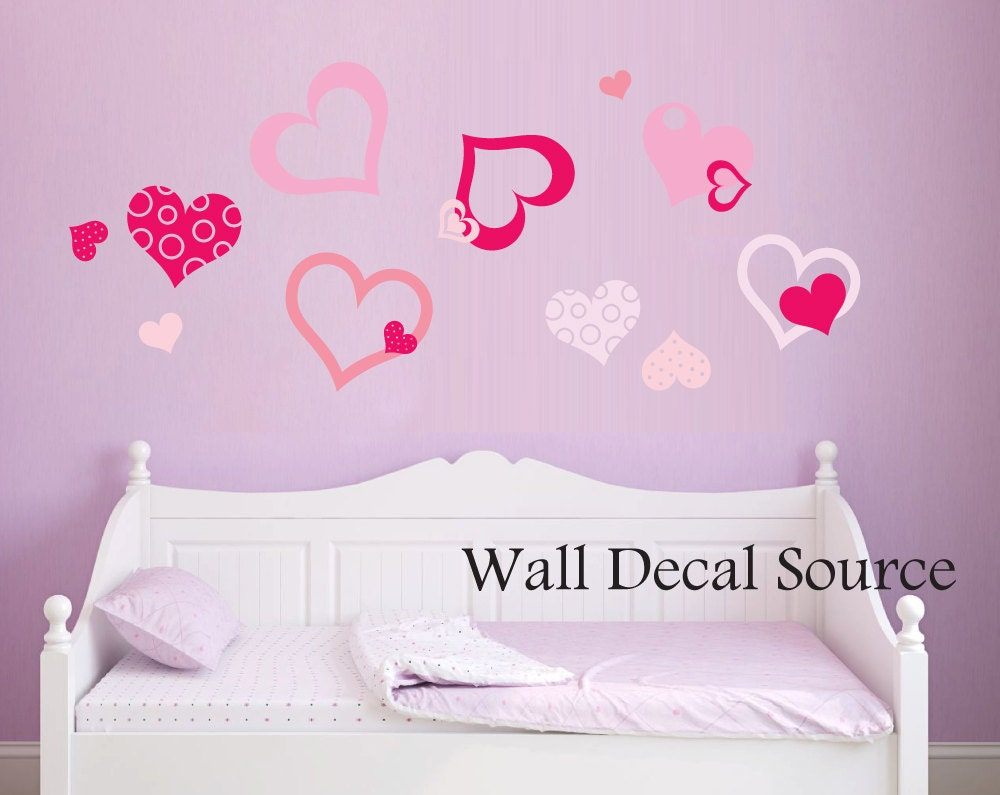 Pretty heart decal heart wall decals girls wall decals zoom amipublicfo Image collections