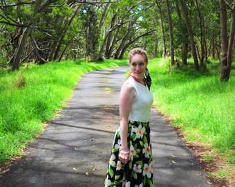 Hawaiian Skirt, New, Retro Skirt, Skirt, Hibiscus, Black, Floral, Flowers, Circle Skirt, Hawaii, Tiki, Luau, Pinup, Handmade