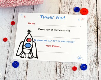 Kids Fill In the Blank Thank You Notes / Kids Thank You Notes / Childrens Thank You Note Cards / Fill In The Blank Space Ship Design