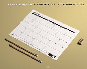 2018 MONTHLY Planner Minimalist  Calendar Black white MONDAY week A3 A4 Letter Business Planner Family Calendar Desk calendar Month Schedule