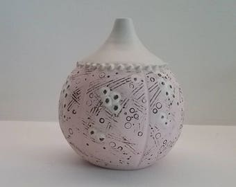 Pink sea urchin bud vase