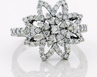Snowflake Wedding Ring, Diamond Snowflake Ring, Diamond Wedding Bands for Women