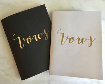 Vow pocket notebooks - black and white, his and hers - perfect wedding keepsake