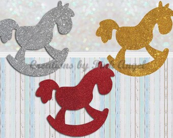 Set of 12 Rocking Horse Cutouts, Glitter Rocking Horse Die Cuts, Rocking Horse Paper Punches, Baby Shower Party Ideas