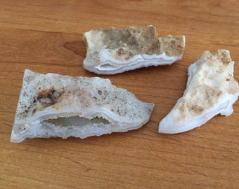 3-pc Set Agate Geode. Sparkly/Gorgeous/Rock and Mineral Collection SN 600