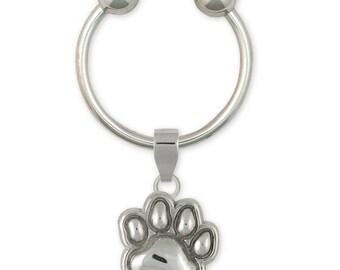 Dog Paw Key Ring Jewelry Sterling Silver Handmade Dog Key Ring PW20-KRE