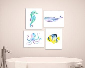 Under the Sea Bathroom Decor, Under the Sea Wall Art, Watercolor Sea Creature, Ocean Print, Set of 4