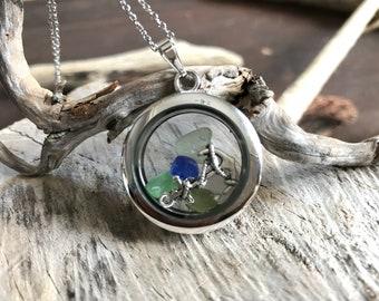 Porthole to Nova Scotia Necklace, sea glass locket necklace, floating locket, beach necklace, nautical, sailor necklace, sea glass jewelry