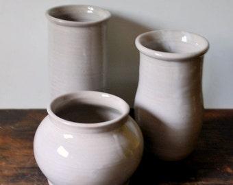 Ceramic White Vases Set of Three Stoneware Clay Pottery