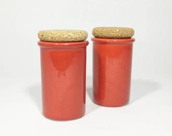 Italian Ceramic Storage Jars With Cork Lids