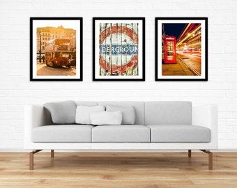 London Print Set, London Art Print, London Photography Set, Travel Photography, Red, Phone Booth, Bus, Set of 3 Gift, Living Room Wall Art