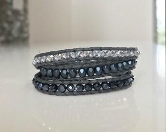 Metallic Blue Wrap Bracelet
