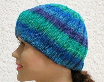 Blue green purple beanie hat, striped hat, skull cap, ribbed beanie, knit hat, toque, mens womens hat, blue green hat, beanie hat, hiking