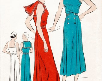 1930s sailor dress women's vintage sewing pattern reproduction // summer dress nautical details // PICK YOUR SIZE bust 32 34 36 38 40